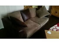 Sofa Set with Footstool, 1x three seater and 1x two seater.