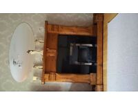 Mexican pine soild wood fireplace, with marble surround and herth