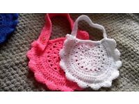 hand crochet baby bibs x 2 girls or boys