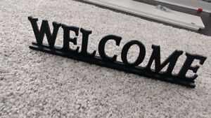 URBAN BARN BLACK WOODEN WELCOME STANDING SIGN