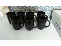7 black mugs hardly used excellent condition