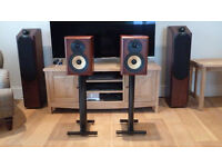 B&W CDM2 Bookshelf Speakers in Cherry Wood Veneer with Stands