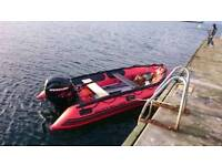 Rib boat tender with trailer 25hp mercury efi engine and