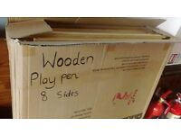 8-Sided Children's Wooden Playpen