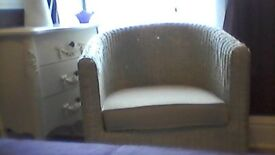 ratten tub chair. cream ratten tub chair ex condition £80 ono.