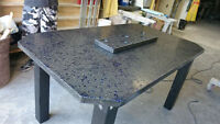Custom concrete table designs, benches, bbq surrounds,ect.
