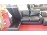 black & brown brand new leather corner sofa with storage