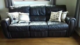 Quality leather 3 seat reclining sofa