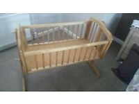Crib - swinging type complete with mothercare mattress