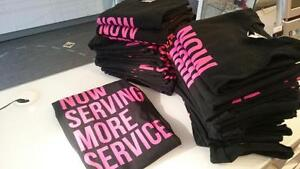 Custom Apparel for Small Businesses, Printed Onsite