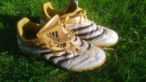 Adidas Gold/White soccer shoes / cleats, Size 3