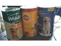 Tins of dog food