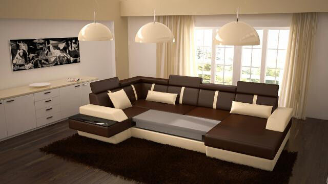 xxl big sofa wohnlandschaft couch polster eck garnitur lemans u form design neu eur. Black Bedroom Furniture Sets. Home Design Ideas