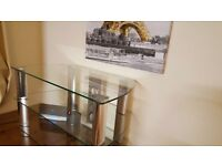 TV Stand Clear Glass - Excellent Condition