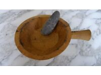 Large Handcarved Wooden Mortar & Pestle bought in Gomera Perfect Herbs Spices Pestos - RUSTIC
