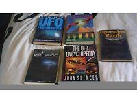 FIVE BOOKS ON UFO'S, ANCIENT ALIENS ETC.