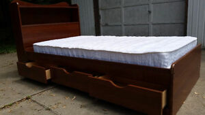 Single size Captain bed with mattress /drawers and headboard