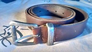 HUGO BOSS -Authentic Dark Brown Saddle Leather Men's Casual Belt