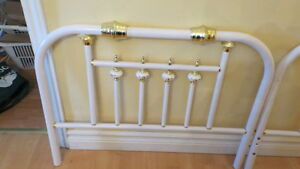 BRASS HEAD BOARD AND FOOT AND DRESSER