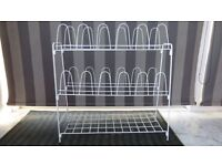 12 Pair White Wire Shoe Rack with Shelf