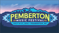 Pemberton Music Festival 2 GA admission with camping spots $850