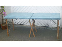 Turquoise leather covered, custom made massage table