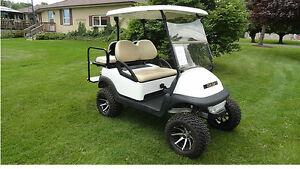2011 LIFTED CLUB CAR  GOLF CART W/REAR FLIP SEAT & LIGHTS