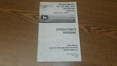 John Deere 60-inch Mower For 755 855 955 Operators Manual B222