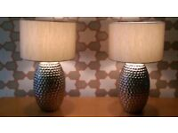 Sliver based table lamps , selling both together £60