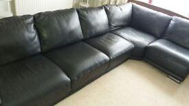 Large Italian Black Leather Suite