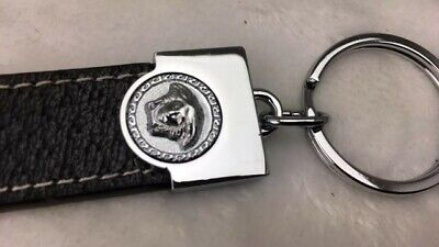 New Vintage GIANNI VERSACE Black Leather Medusa Head Key Ring Silver Tone Trim