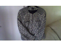 M&S ladies jacket size 10 in navy blue and cream woven jacket in excellent condition