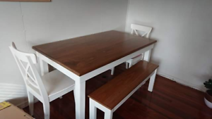 Custom Handmade Dining Room Table with Bench and Chairs