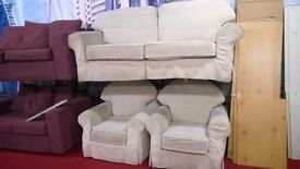 Three Piece Suite Two Armchairs And Sofa, removable/ washable covers