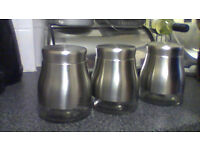 tea coffee and sugar stainless steel and glass kitchen jars in excellent condition