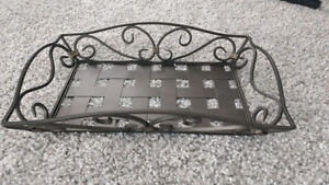 PIER 1 IMPORTS BROWN WROUGHT IRON SERVING TRAY