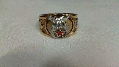 10KT Gold Masonic Mystic Shrine Size 10.5 Ring - Masonic Shrine Ring