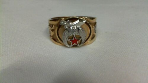 10KT Gold Masonic Mystic Shrine Ring Size 10.5