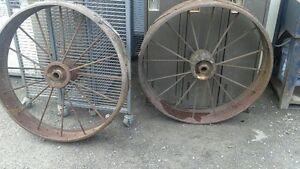 "38"" tall steel spoked wheels great for lawn art/driveway markers"
