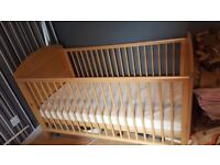 Wooden Cot Bed and mattress