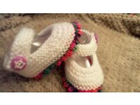 Hand knitted baby girls shoes x 1 pair various available
