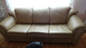 sofa bed and chair leather look new quen size