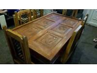 Indian Sheesham hand carved solid oak dining table and 6 Jali chairs