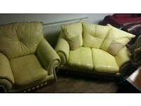cream leather settee and chair