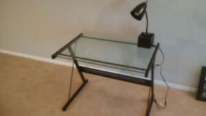 Glass Desk with Lamp