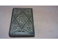UNUSUAL ANTIQUE CIGARETTE BOX WITH MOTHER OF PEARL BACK AND FRONT.