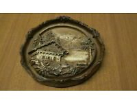 4 x carved wood effect wall plaques
