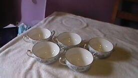 Royal Albert SILVER MAPLE Soup Coupe Bowls x 5