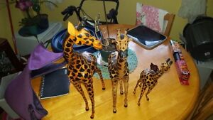 Handmade Leather Giraffe Family