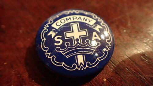 85 SALVATION ARMY - PIN - COMPANY MEETING WITH CROSS & SA - BLUE BROACH PINBACK
